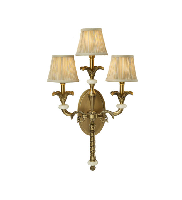 Three Arms Antique Finish Triple Wall Light
