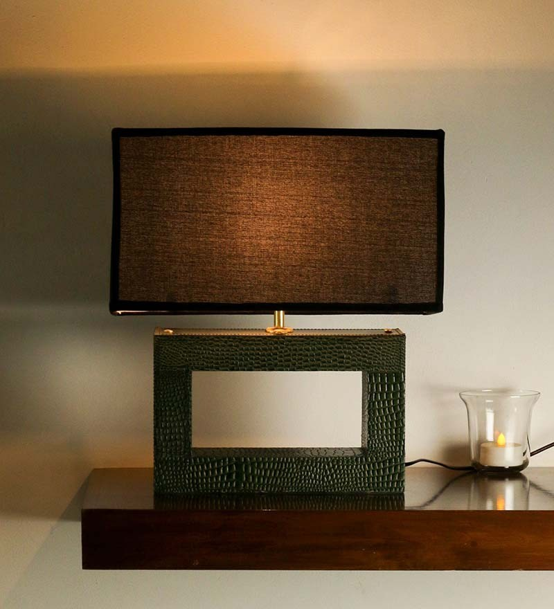 Green leather rectangle lamp with black rectangle shade for Living room lamp shades