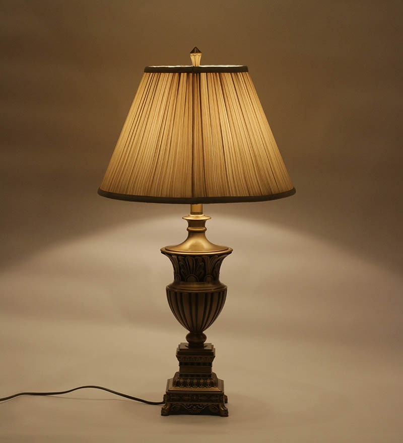 finish table lamp with round pleated shade table lamp browse all. Black Bedroom Furniture Sets. Home Design Ideas