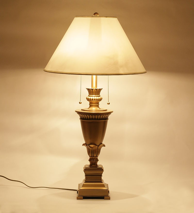Antique Brass Finish Table Lamp with round Shade - Table Lamp - Living Room