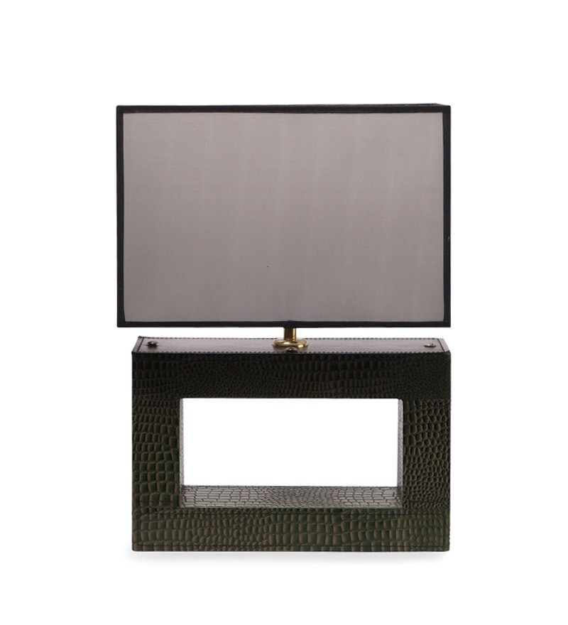 green leather rectangle lamp with black rectangle shade table lamp. Black Bedroom Furniture Sets. Home Design Ideas